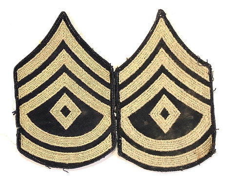 US Army WW2 First Sergeant Navy Twill Rank - Pair
