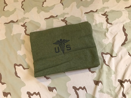 USGI Military Green Wool Blanket w/ Caduceus Logo