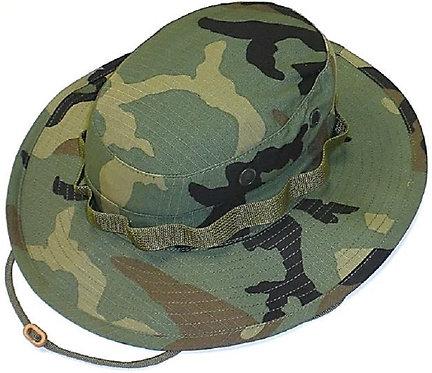 R&B Military Wide Brim Woodland Camo Boonie Hat