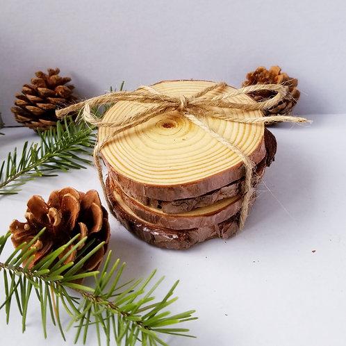 Wood Slice Coaster Set/Four