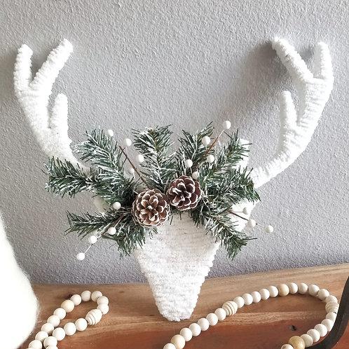 White Christmas Reindeer Head