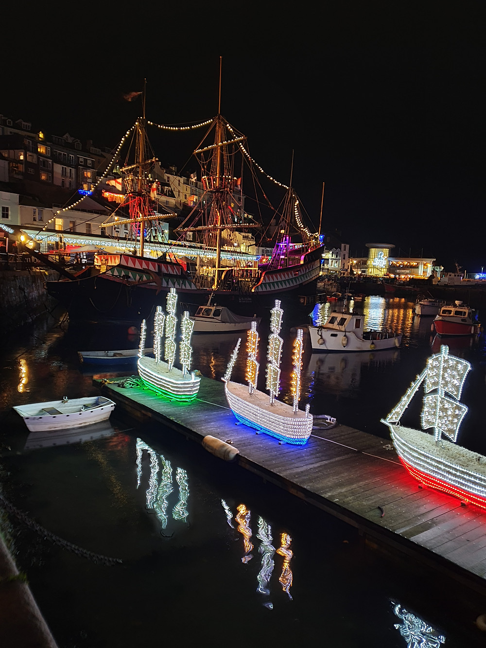 Brixham's Golden Hind and Three Ships Christmas lights