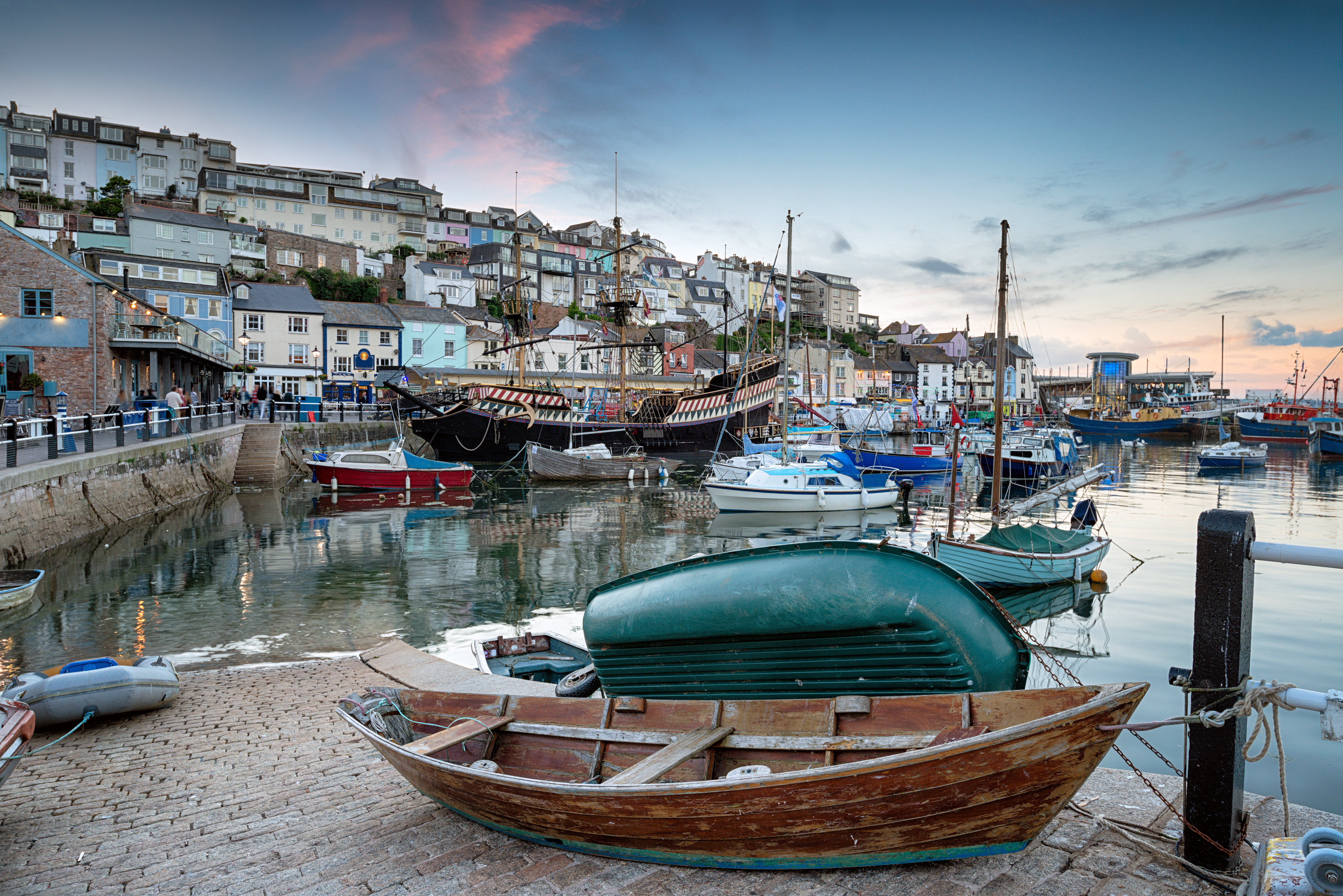 Dusk at Brixham harbour an historic fish