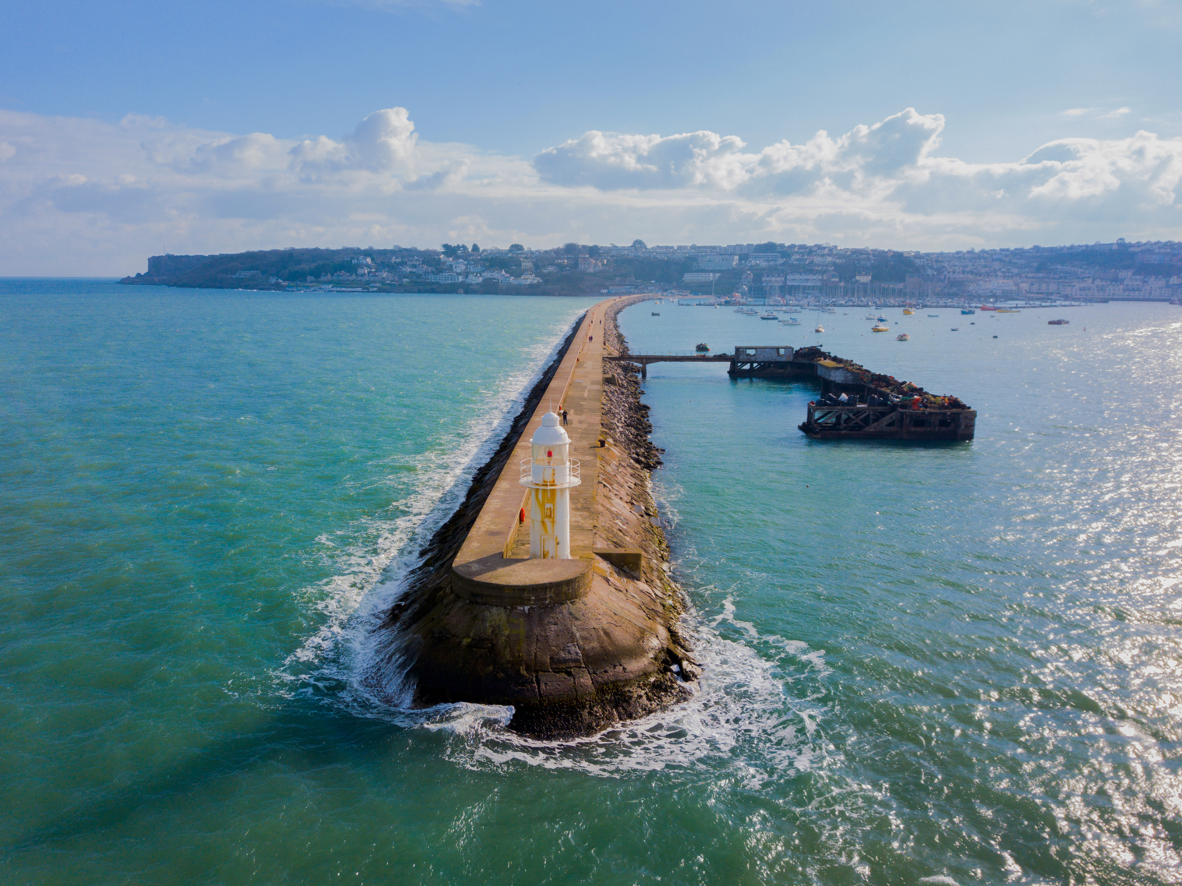 An aerial view of the Brixham breakwater