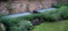 Low Buxus hedge against basement walk on roof lights in a Kensington garden