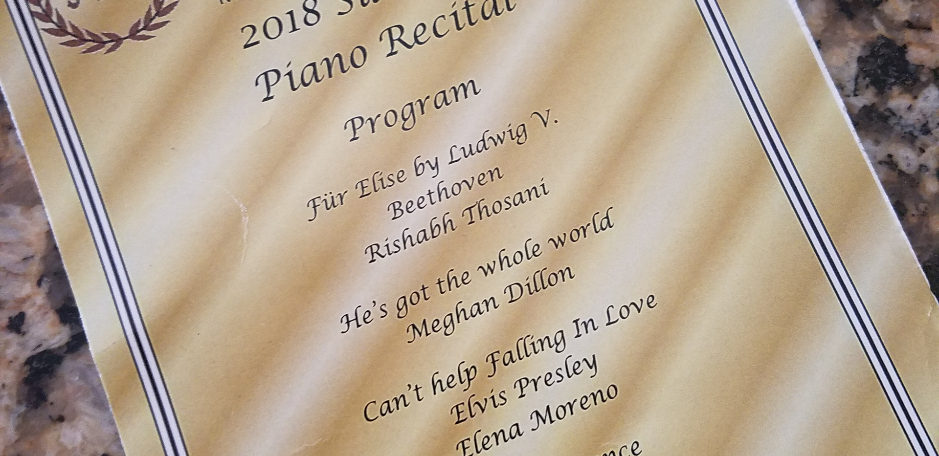 2018 Summer Piano Recital
