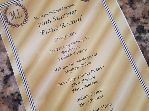 2018 Summer Piano Recital