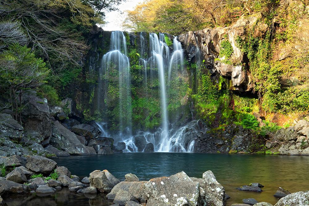 Jeongbang Waterfall Jeju South Korea