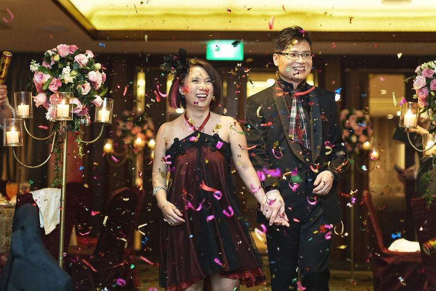 Singapore Wedding Photography, wedding day, first march in, confetti