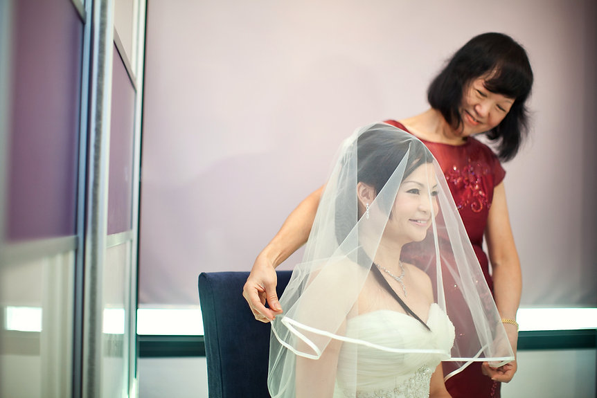 Singapore Wedding Photography, wedding day, veiling the bride