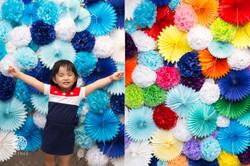 Photo Booth pom pom flower backdrop