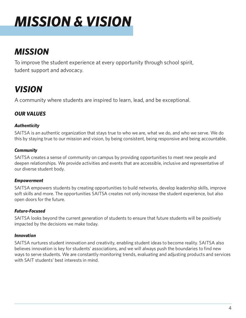 SAITSA Strat Plan 2018 - Mission & Vision