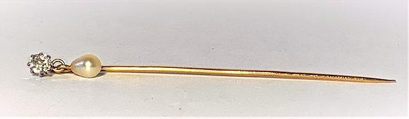 Epingle à cravate or + diamant + perle