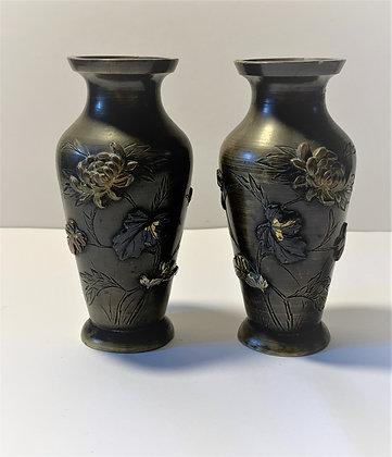 Paire de vases japonais en bronze