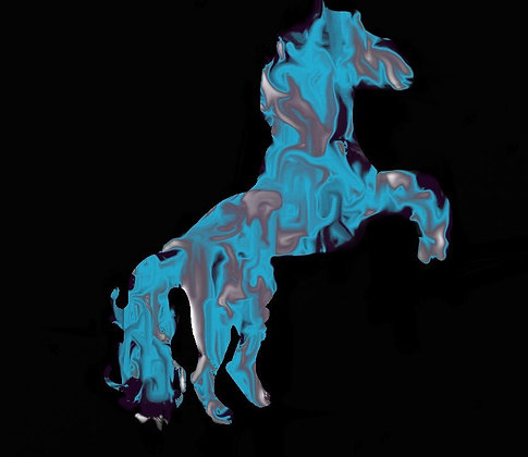 Bucking Blue Horse