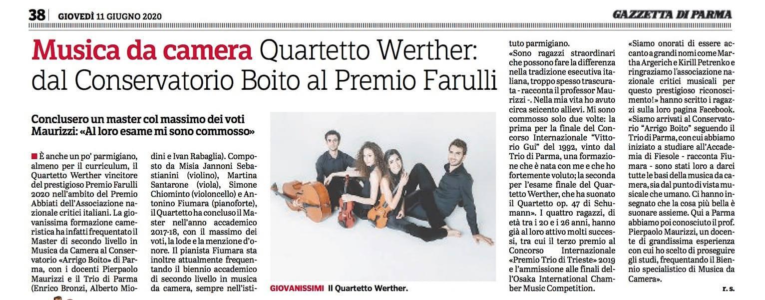 Premio Abbiati, Gazzetta di Parma, 2020.