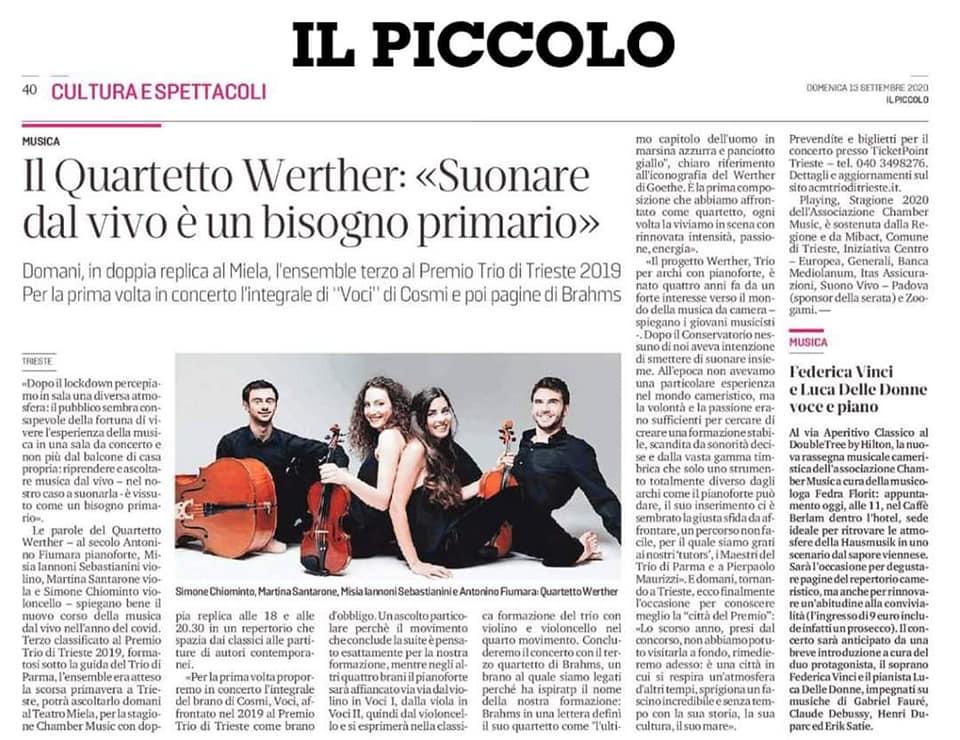 Articolo pre-concerto, Il Piccolo, 2020.