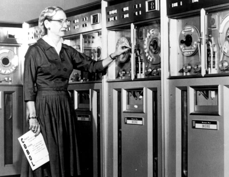 SI Neg. 83-14878. Date: na.Grace Murray Hopper at the UNIVAC keyboard, c. 1960. Grace Brewster Murray: American mathematician and rear admiral in the U.S. Navy who was a pioneer in developing computer technology, helping to devise UNIVAC I. the first commercial electronic computer, and naval applications for COBOL (common-business-oriented language).Credit: Unknown (Smithsonian Institution)