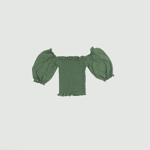 Top verde olivo hombros bobos