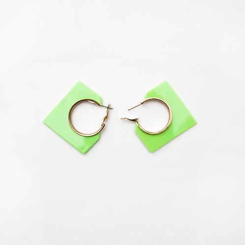 Aretes Verdes Argollas Doradas