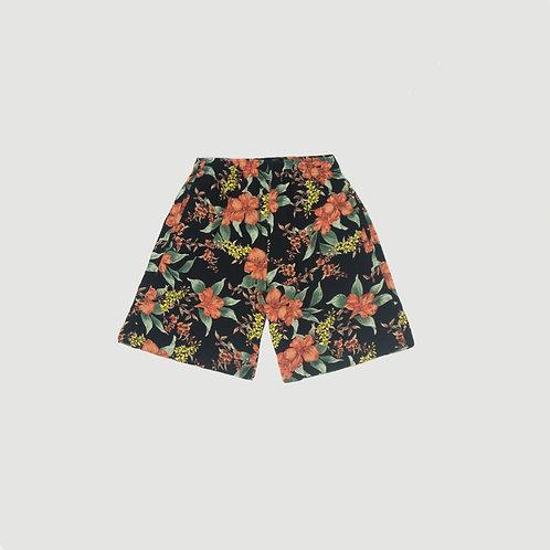 Short negro flores  naranja