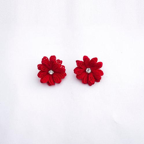 Aretes Flores Rojas