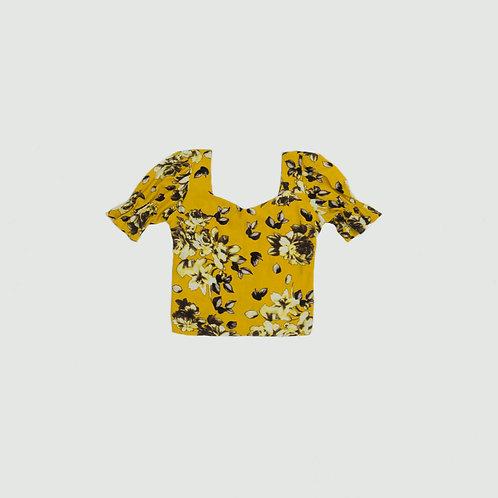 Blusa floreada cuello V amarilla