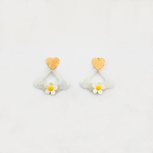 Aretes Corazón Flores