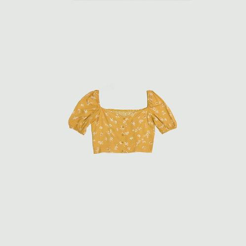 Blusa amarilla  flores botones