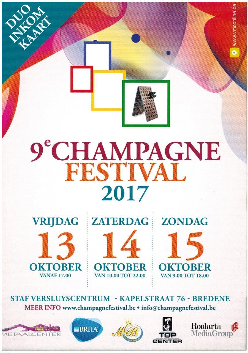 13, 14 et 15 Octobre 2017 DĒGUSTATION DE NOS CHAMPAGNES