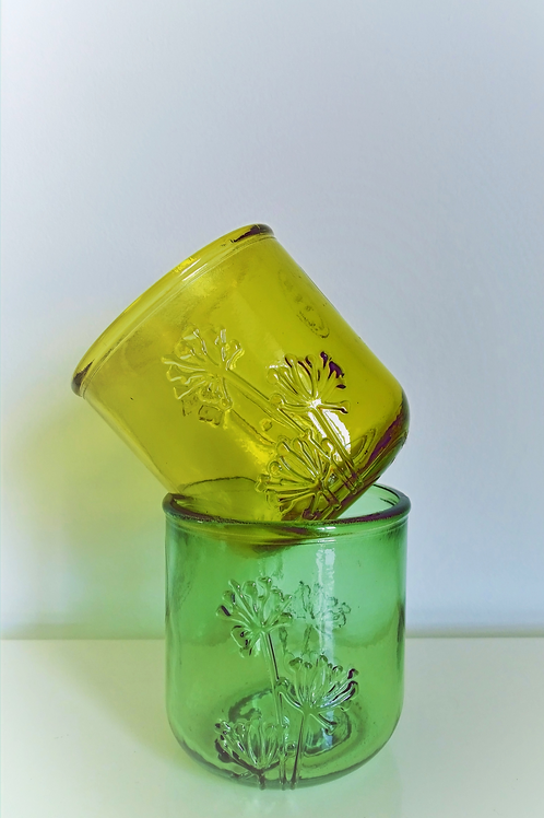 Handmade Recycled Glass with imprinted Flower
