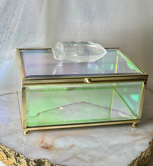 Caixa de Vidro com Ponta de Cristal Bruta