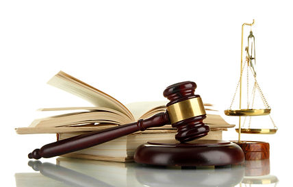 Golden scales of justice, gavel and book