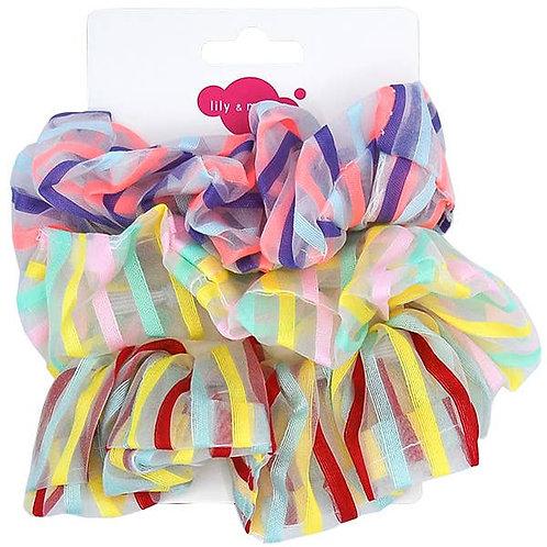 Stripe Organza Scrunchies