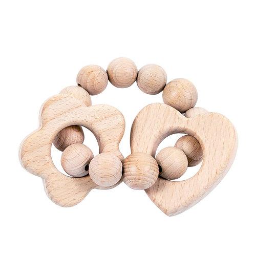 Heart & Flower Wooden Teether