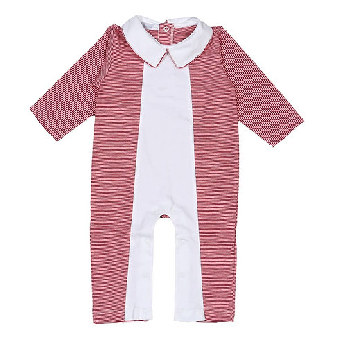 Red and White Pima Footless Romper