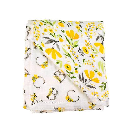 Floral Alphabet Muslin Blanket