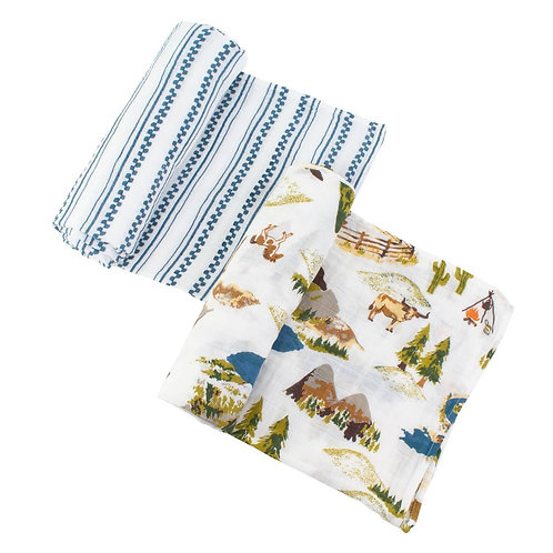 Wyoming + Stripe Swaddles