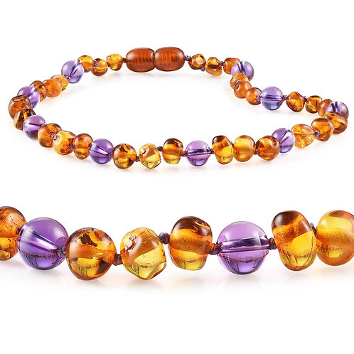 Baltic Amber + Gemstone Teething Necklaces
