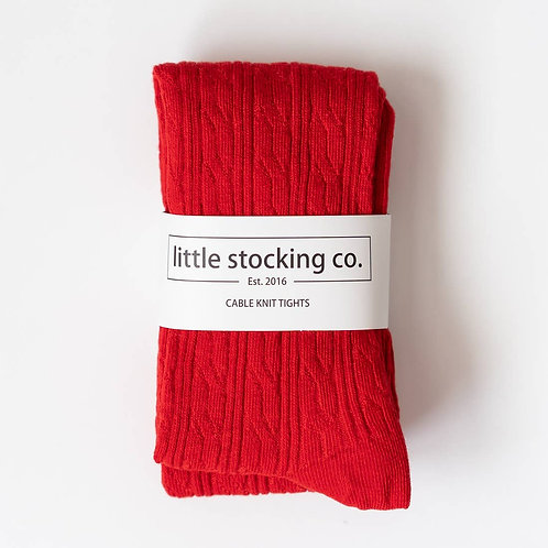 Red Cable Knit Tights