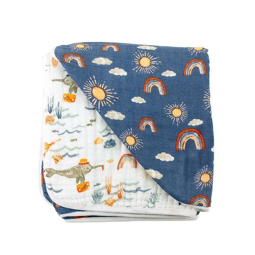 Narwal + Sunshine Muslin Blanket