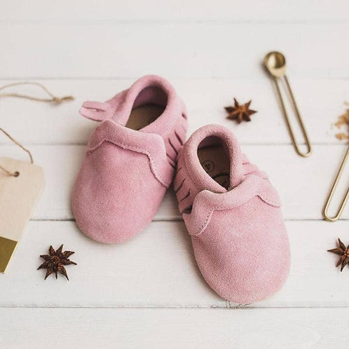 Soft Suede Pink Moccasin