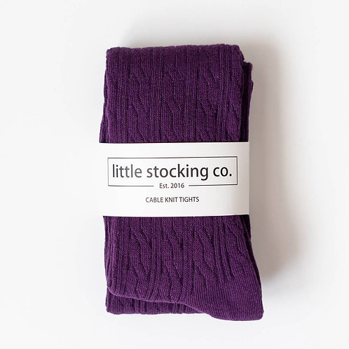 Plum Cable Knit Tights