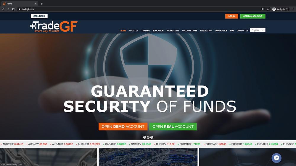 Tradegf homepage