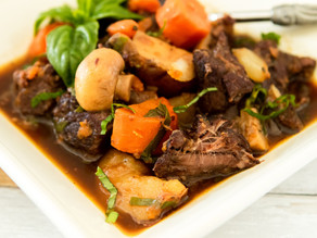 Winter Beef Stew with Carrots & Mushrooms
