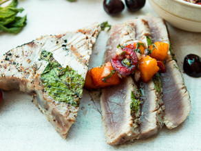 Grilled Tuna with Cherry-Nectarine Chutney