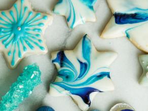 Marbleized Iced Sugar Cookies