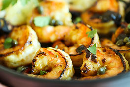 SHRIMP WITH HONEY, LEMON AND CAPER SAUCE