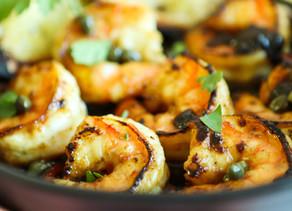Shrimp with Honey, Lemon & Caper Sauce