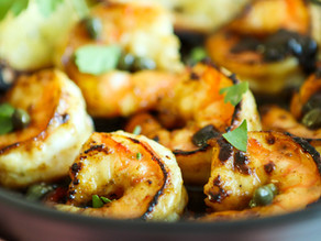 Shrimp with Honey, Lemon & Caper Sauce